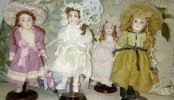 "Lot of 4 Victorian style Mini 7 1/2"" porcelain dolls dress h"