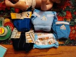 lot of 5 boys 10 inch handmade cloth diapers/for doll/velco