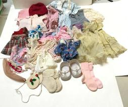 Lot of Vintage Doll Clothes Various Sizes Dresses Shoes Sock