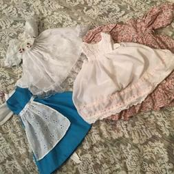 """Lot Porcelain Doll Dresses & Lace Gown For 12"""" To 14""""  D"""