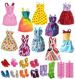 Ebuddy Lots 40 Pcs Barbie Set: 10 Pcs Princess Dress/10 Pair