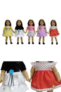 5 Pieces Lots Doll Clothes Set for 18 Inch Dolls American Gi