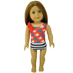 XADP Lovely Red Doll Clothes Swimsuit Swimwear Fits American