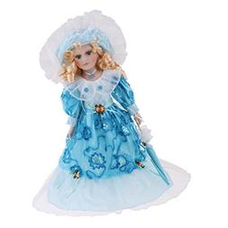 MagiDeal 40cm Lovely Porcelain Lady Doll with Clothes Blue &