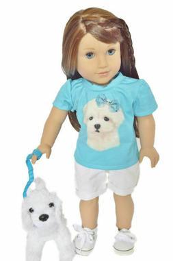 Maltese Shorts Set for American Girl Dolls 18 Inch Doll Clot