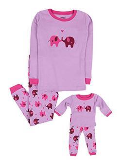 Leveret Elephant Matching Doll & Girl 2 Piece Pajama Set 100