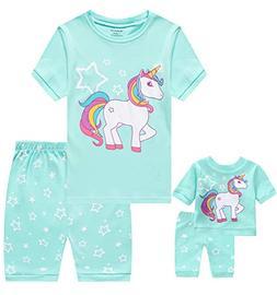 Babyroom Girls Matching Doll&Toddler 4 Piece Cotton Pajamas