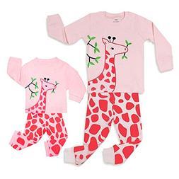 Girls Matching Doll&Toddler Giraffe 4 Piece Cotton Pajamas K