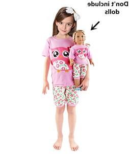 Girls Matching Doll&Toddler Owl 4 Piece Cotton Pajamas Kids