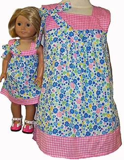 Matching Girls and Doll Clothes Spring Flowers Size 5