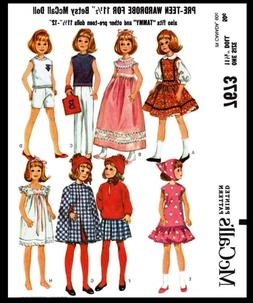 McCall/'s 7673 Fabric Sewing Pattern Tammy Barbie DOLL Wardrobe Mattel Betsy 11.5
