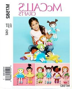 McCalls SEWING PATTERN 7582 Rag Dolls and Clothes Doll