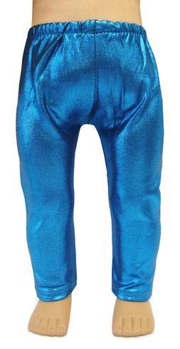 metallic blue leggings fits 18 american girl
