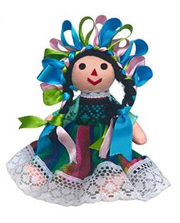 Mexican Handmade Traditional Rag Doll Green 7 inches
