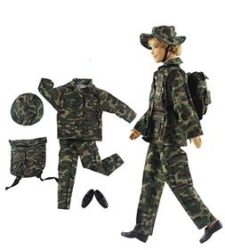 HongShun Fashion Military Uniform Outfit Top+pants+knapsack+