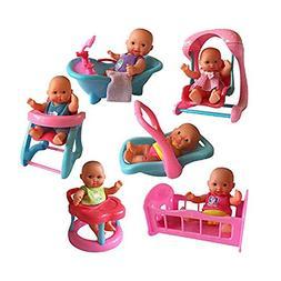 The New York Doll Collection Mini Bathtub Set of 6, - Mini D
