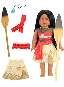 "Moana Inspired Outfit with Wooden Paddle | Fits 18"" American"