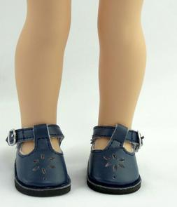 Navy T-Strap Doll Shoes For 14.5 Inch Wellie Wishers America