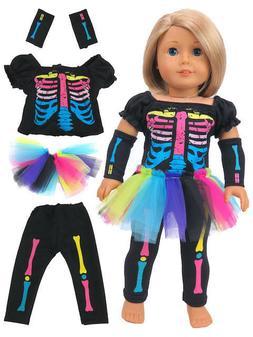 "Neon Skeleton Costume Halloween Skirt Set Fits 18"" American"
