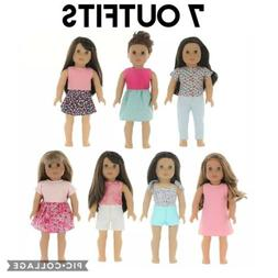 NEW PZAS Toys American Girl Doll Clothes Wardrobe 7 Outfits
