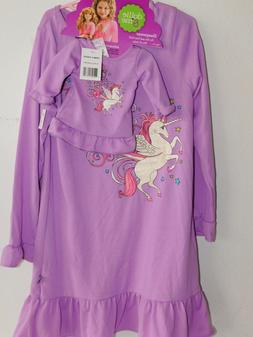 NEW GIRLS & DOLL SIZE 8 PURPLE UNICORN DOLLIE & ME NIGHTGOWN