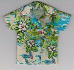 Homemade Doll Clothes-Pretty Blue Flowers Print Shirt fits Ken Doll B7
