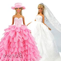Newest Fashion Handmade Pink White Dress With Hat Wedding Ev