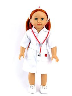"Nurse Dress and Stethoscope | Fits 18"" American Girl Dolls,"