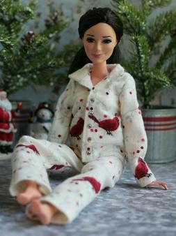 №154 Clothes for Barbie Doll. Flannel Pajamas for Dolls.
