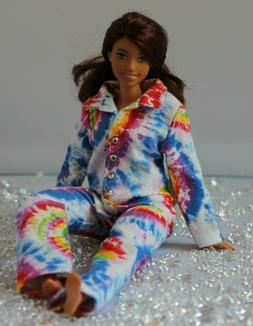 №279 Clothes for Curvy Barbie Doll. Flannel Pajamas for Do