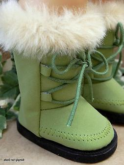 """OLIVE GREEN Suede Fur-Trim DOLL BOOTS SHOES fits 18"""" AMERICA"""
