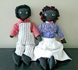 "Pair of Vintage 13"" Black Americana Handmade Cloth Rag Dolls"