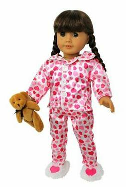 "Pajamas Doll Clothes for American Girl Dolls: ""Hearts and Ki"