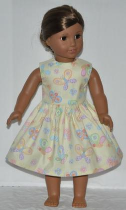 Pale Yellow Spring Butterfly Doll Dress Clothes Fits America