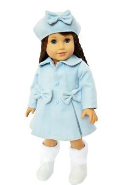 Pastel Blue Winter Coat Fits 18 Inch American Girl Dolls- 18