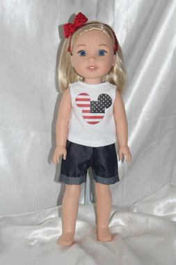Patriotic Dress Outfit fits 14inch American Girl Wellie Wish