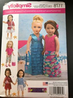 "Simplicity Pattern 1178 18"" Doll Clothes~Resort/Vacation Out"
