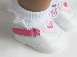 """Pink & White Heart Shoes Loafers Doll Clothes For 18"""" Americ"""