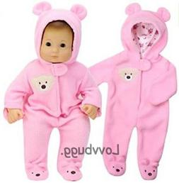 Pink Bear Costume Sleeper Snowsuit for Baby 15 inch Doll Clo