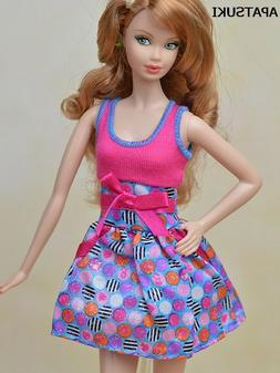 Pink Blue Bowknot Fashion Doll Clothes Mini Dress For 11.5""