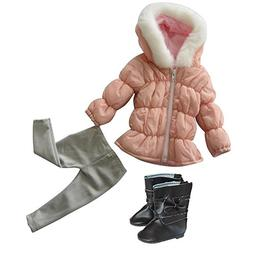 Pink Doll Winter Jacket With Fur Hat, Grey Tights With Brown