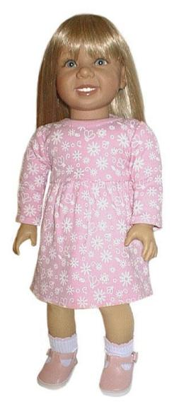 Pink Floral Print Dress Fits 18 inch American Girl Dolls