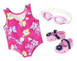 Pink Floral Swimsuit for 18 Inch Dolls with Pink Sandals and