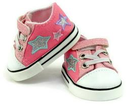 "Pink Glitter and Stars Tennis Shoes Sneakers for 18"" America"
