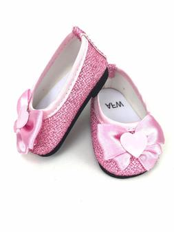 """Pink Glitter Dress Shoes Fits 18"""" American Girl Doll Clothes"""