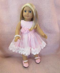 Pink Lace Dress Set fits American Girl Doll 18 Inch Clothes