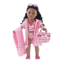 18 Inch Doll Clothes | 6-Piece Pink Leopard Print Tankini Sw