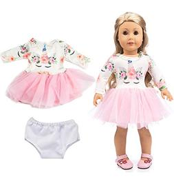ebuddy Pink Long Sleeve Veil Soft Cotton Unicorn Doll Dress