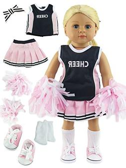 Pink and Navy Blue Cheerleader Cheerleading Uniform Outfit w