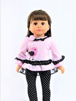 """Pink Polka Dot Birdie Pant Set Fits 18"""" American Girl Doll C"""